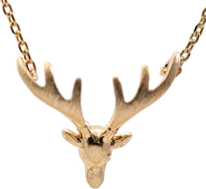 chelseachicNYC Handmade Brush Metal Deer Horn Necklace