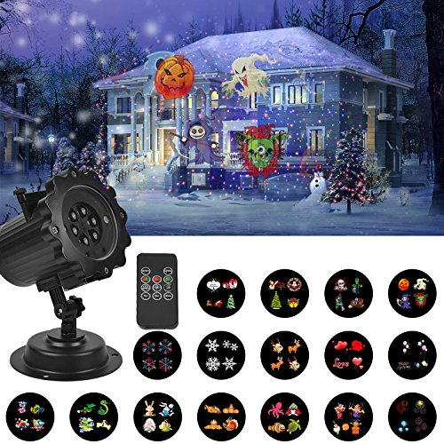 UNIFUN Christmas Halloween Decorations Lights Projector with Red Blue Star -16 Slides LED Landscape Projection Lights for Christmas, Halloween and Holiday Decorations with Remote Control and Timer