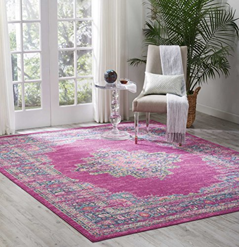Antique 8x10 Area (Nourison (PSN03) Passion Modern Traditional Colorful Fuchsia Pink Area Rug, 8' x  10')