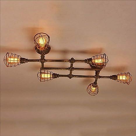 Lámpara de techo de hierro forjado industrial creativo tubo ...