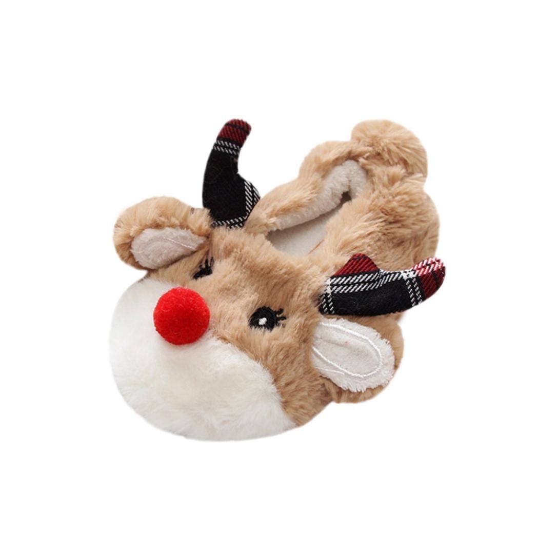 zapatillas casa emoji, Sannysis zapatillas casa bebe niños niñas invierno divertidas ropa de disfraces cálida zapatos de algodón de seguridad bebe dress up zapatillas navidad, diseño de ciervo