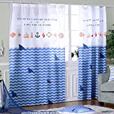 Blue Children Room Window Curtains,Boy Mediterranean Shark Door Drapes Panel for Baby,Printed Insulated Thermal Blackout Kid Room Set Grommet 1 PCS,31 x 51 inch