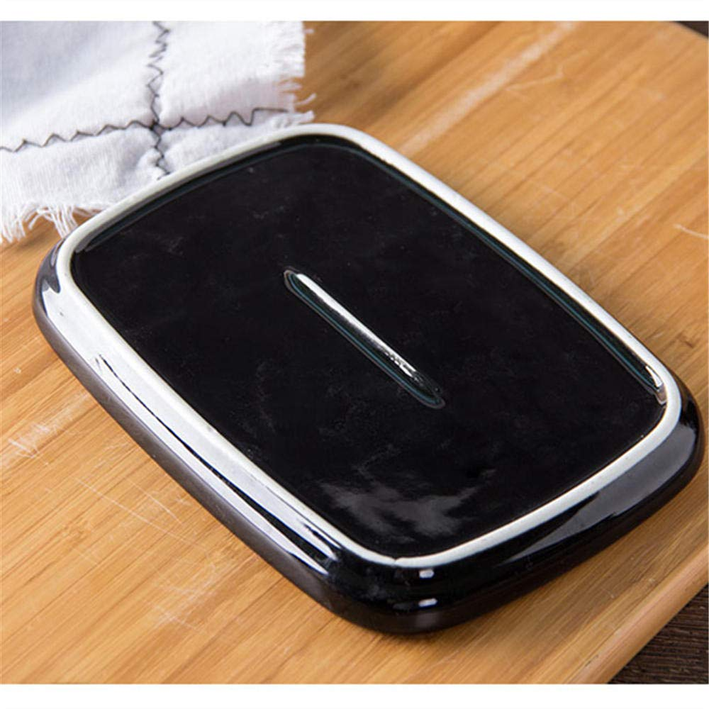 7 Inch Ceramic Butter Dish Box Container Candy//Cake Box//Tray with Lid with Diamond Handle Black