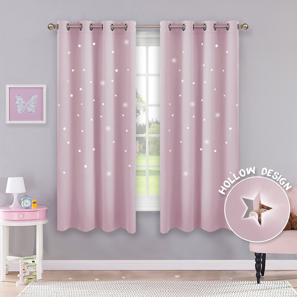 PONY DANCE Window Star Curtains - Hollow Out Blackout Stars Design Space Inspired Grommet Top Blackout Curtain Panels Baby Girl Kids Nursery Room, 52'' W 63'' L, Light Pink, Set of 2