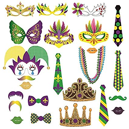 Amazon Com Mardi Gras Photo Booth Party Favor Kit Photo Booth