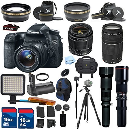 Canon EOS 70D Camera & 18-55mm & 75-300mm & 500mm & 650-1300mm Lenses. ALS VARIETY Kit Includes, Auxiliary .43x Wide Angle Lens + 2.2x Telephoto + Accessory Bundle - International Version