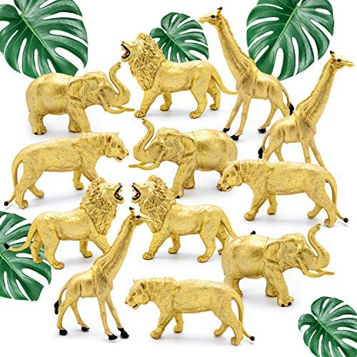12 Jumbo Metallic Gold Plastic Safari Animal Set – Different Varieties of Zoo Animals, 3 Elephant 3 Giraffe 3 Lion 3 Tiger PVC, 4-6 Inches