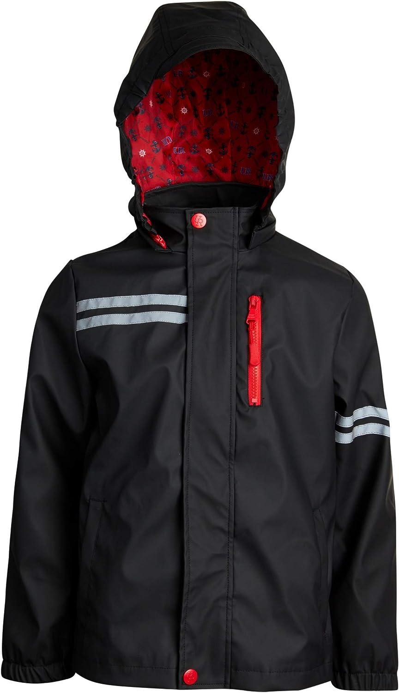 Toddler//Little//Big Boys Urban Republic Boys Waterproof Vinyl Hooded Rain Jacket with Snap Closure