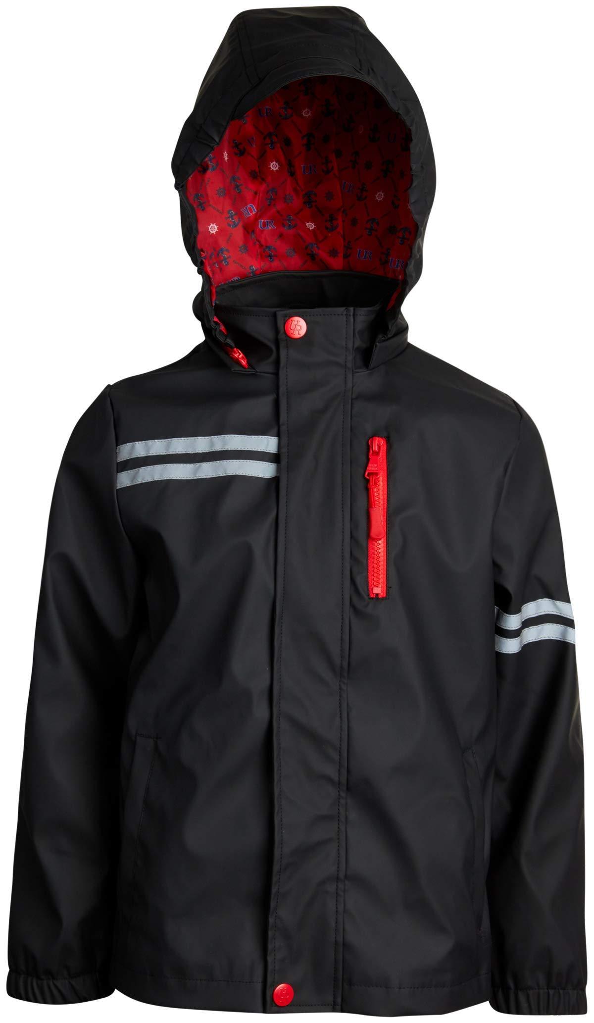 Urban Republic Boys Lightweight Waterproof Hooded Vinyl Raincoat Jacket, Black, Size 10/12'