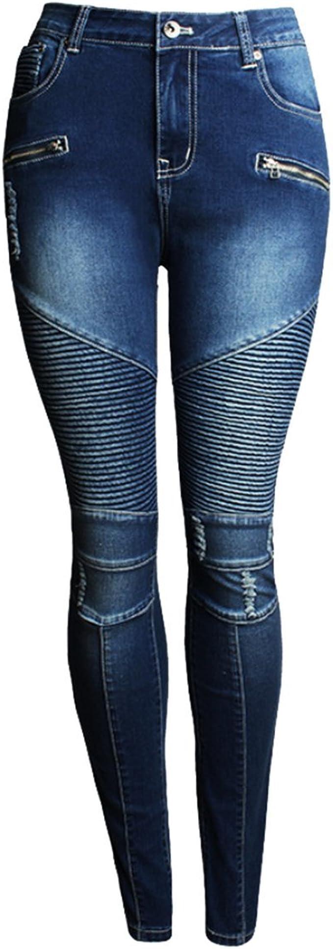 Lyamazing Women`s Stretchy Ripped Skinny Biker Jeans Blue Mid Low Waist Denim Pants