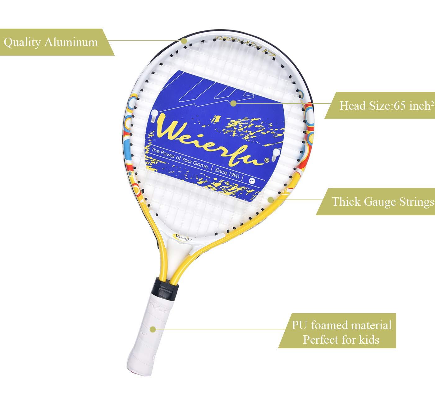 weierfu Junior Tennis Racket for Kids Toddlers Starter Racket 17-21 with Cover Bag Light Weight Strung