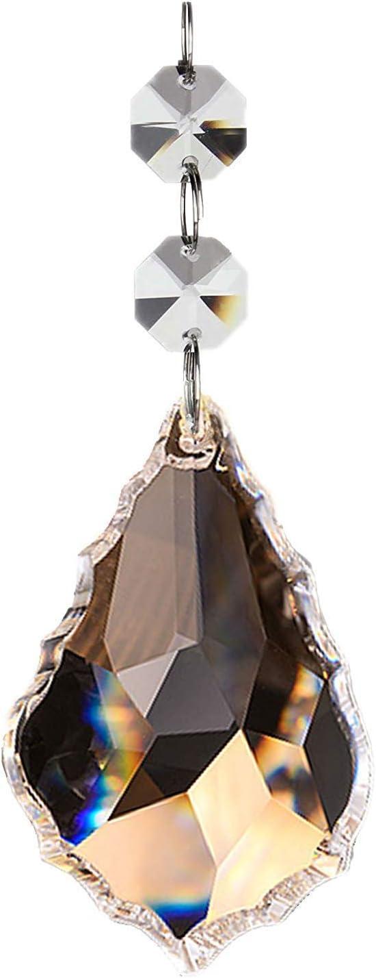 Fushing 10 Piezas De Hojas De Arces De Cristales Transparentes Colgantes De Colgante De Gota De Las Cortinas Prism/áticas De Cadena De La L/ámpara Para La Decoraci/ón Del Banquete De Boda