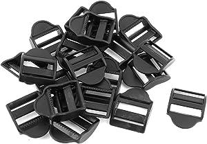 uxcell Plastic Webbing Strap Ladder Slider Buckles Lock 25mm 20 Pcs Black