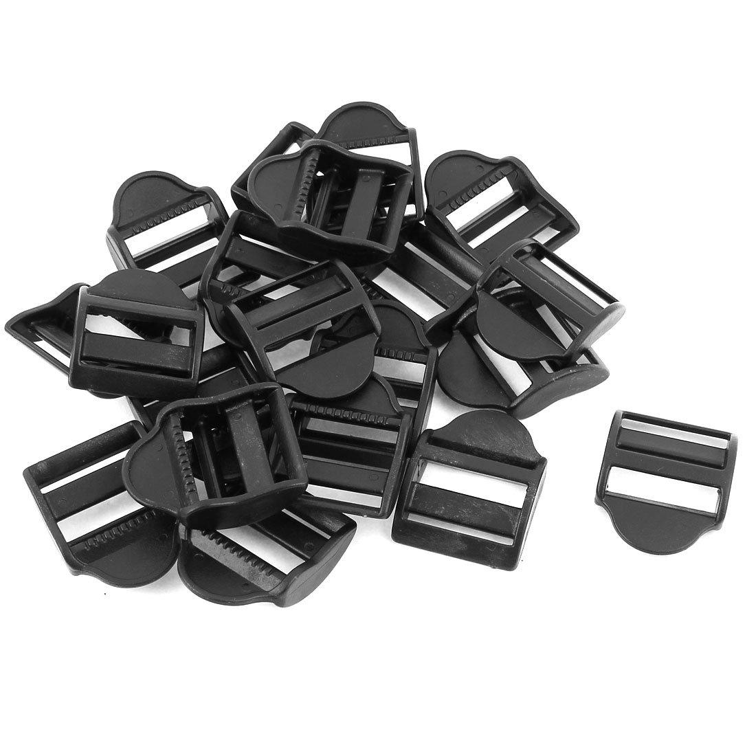 sourcingmap/® Plastic Webbing Strap Ladder Slider Buckles Lock 25mm 20 Pcs Black