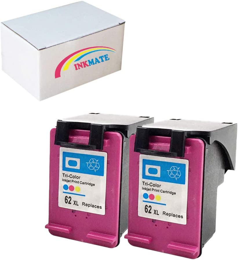 INKMATE Re-Manufactured Ink Cartridge Replacement for HP 62XL for HP Officejet 5740 5742 5745 8040 8045 Envy 5640 5660 5665 7640 7645 8000 8005(2Tri-Color, 2Pack)