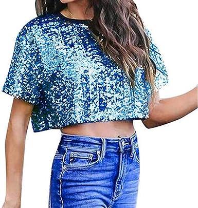 Blusa Brillante de Lentejuelas con Brillo de Lentejuelas para Mujer Verano Camisa Corta Tops Cortos: Amazon.es: Ropa y accesorios