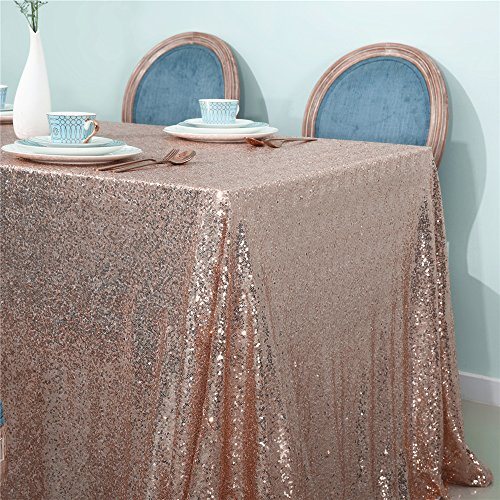 Zdada Candy Buffet Tablecloth Sequin Table Cover for Christmas Day Dinning Room Decoration-Rose Gold 48