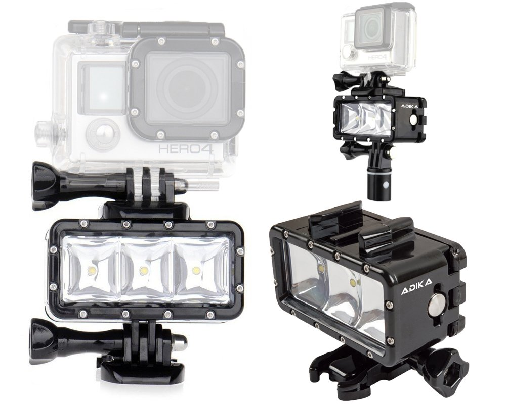 Amazon ADIKA 40m Waterproof Light Wide Angle LED Underwater For Gopro Spot Flood Lighting Dive