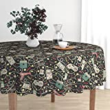 Roostery Round Tablecloth - Technology Gadgets Geek Retro Outdated Technology Gaming Nerdy by Teja Jamilla - Cotton Sateen Tablecloth 70in