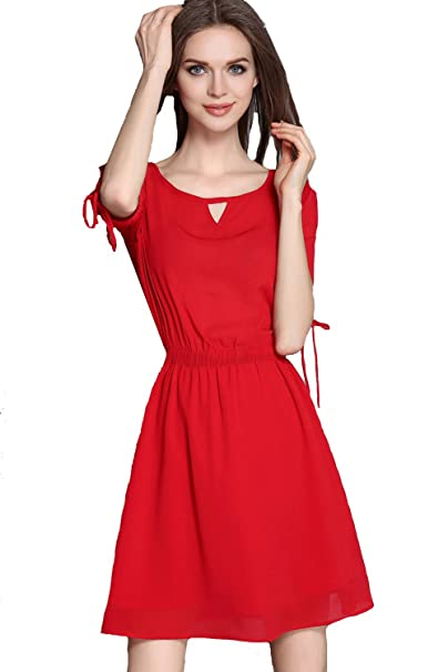 e8a522ed7b5 Image Unavailable. Image not available for. Color  Unomatch Women Round Neck  Elastic Waist Short Length Dress Red ...