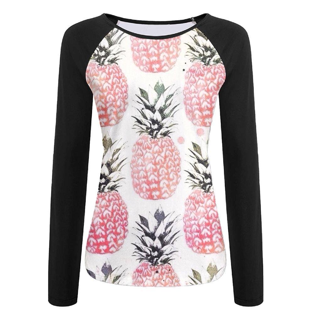 CUTEDWARF 3D Print Fruit Pineapple Womens Long Sleeve Shirt Athletic Baseball Shirt