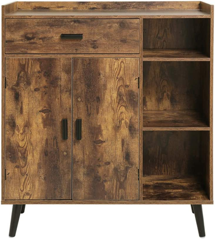 USIKEY Mid-Century Storage Cabinet with 1 Drawer 2 Doors 3 Shelves, Free Standing Cupboard with 4 Legs, Accent Side Cabinet, Wooden Sideboard Storage Organizer for Bedroom Home Office, Rustic Brown