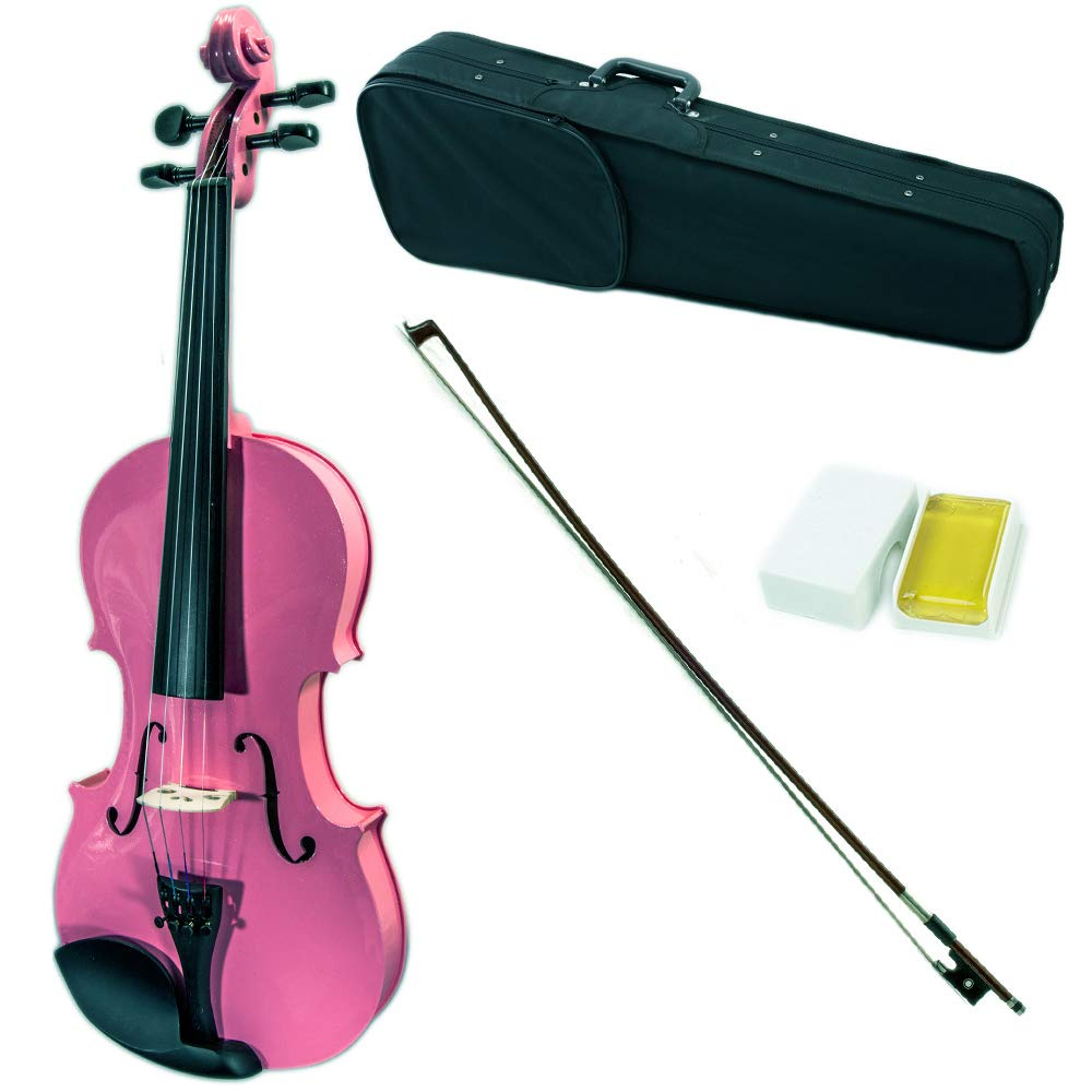 SKY Full Size VN202 Solidwood Pink Violin with Brazilwood Bow and Lightweight Case