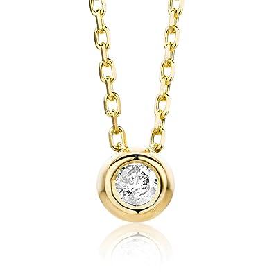 6891794e9599 Orovi Collar Señora Solitario con cadena en Oro Amarillo con Diamante Talla  Brillante 0.04 ct Oro 9 Kt   375 Cadena 45 Cm  Amazon.es  Joyería