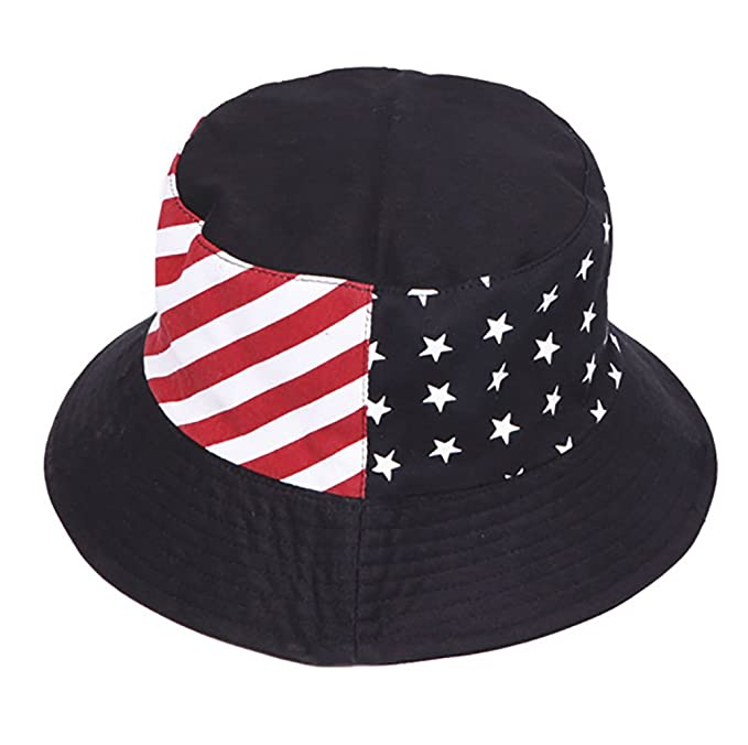 a99cc8a25770a ChicHeadwear USA Stars and Stripes Reversible Bucket Hat - Black at Amazon  Women s Clothing store