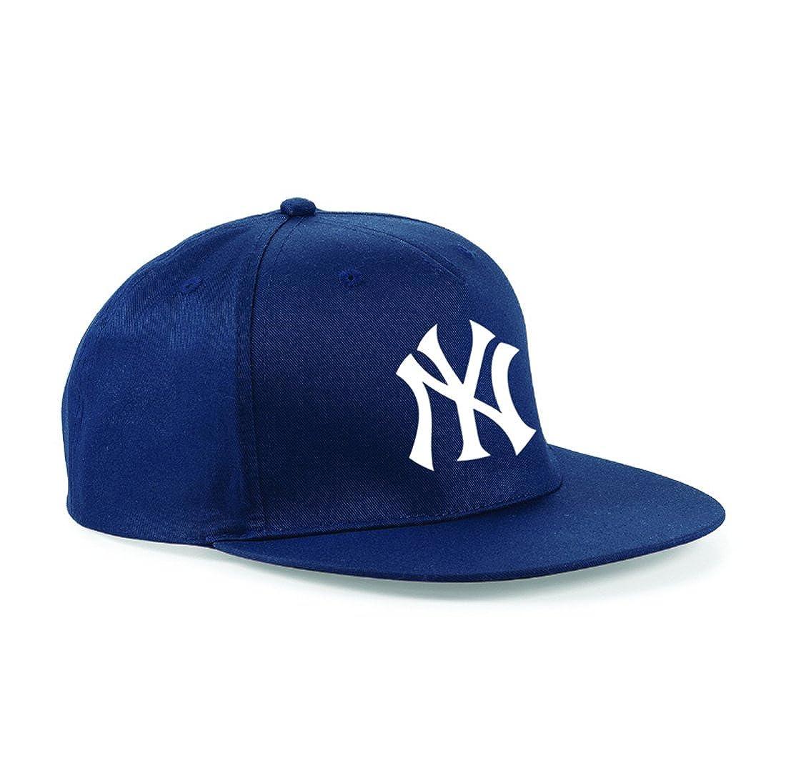 NY New York Cool Retro Boys Hat/Cap White Print Black One Sze