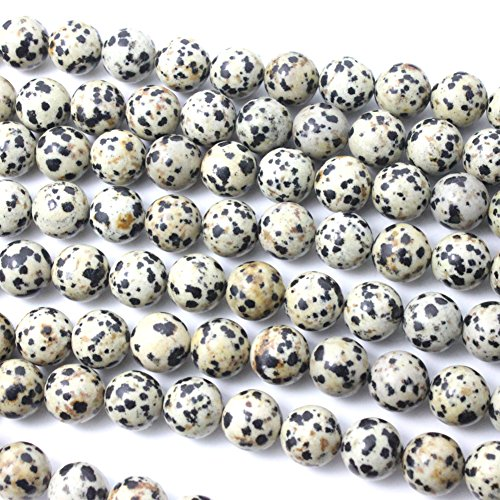 - Natural Dalmatian Jasper Round Gemstone Loose Beads for Bracelet (8mm)