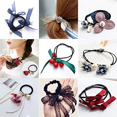 Make Satin Ribbon Roses - 9 Pcs Women's Elastic Rubber Hair Rope Crystal Rose Flower Pearls Tassel Ponytail Holder Stretch Rings Ties Bands Hairband Headband Styling Rope Satin Ribbon Bow Headwear Stretchy Hair Accessories