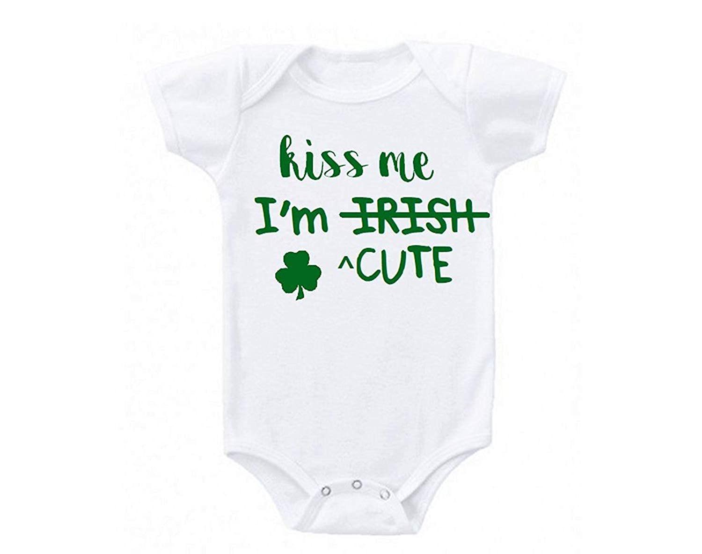Kiss Me Im Irish Baby Skirts Fashion Kids T Shirt Dress Comfortable Flounces Jumpsuit