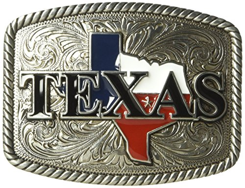 Nocona Men's Rounded Square Painted Texas Buckle, silver, One ()