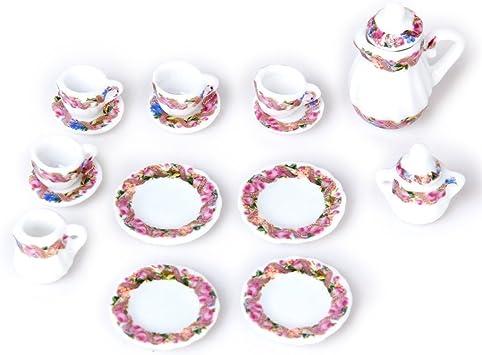 Kit 15pcs Ustensiles à Thé Floral En Porcelaine 1//12 Maison de Poupée Miniature