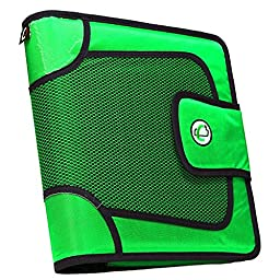 Case-it Open Tab Velcro Closure 2-Inch Binder with Tab File, Neon Green (S-816-NeoGrn)