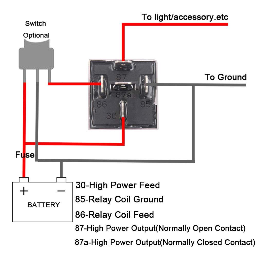 12V 40A SPDT Universale Veicolo Rel/è con Imbracatura di Socket per Auto Camion Moto Barca FULARR 2Pcs Professionale 5 Pin Auto Rel/è Nero