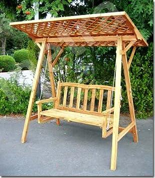 Metra Balancelle en bois avec toit en treillis: Amazon.fr: Jardin