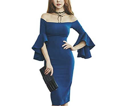 Benzhi Elegant Vestidos Vintage Autumn Flare Sleeve Slim Dress Off the Shoulder Office Blue Party Pencil
