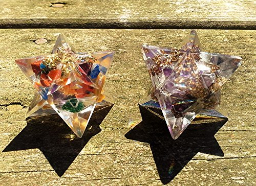 Orgone Merkaba Star Set - Amethyst and Seven Chakras Sacred Geometry Healing Crystal Stone Meditation Tools for Positive Energy Lucid Dream Decor