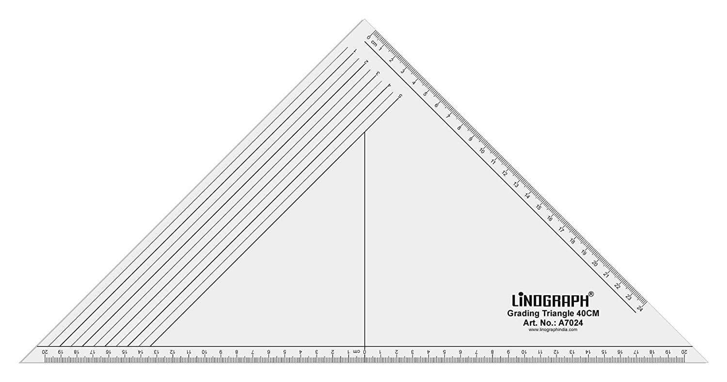 Linograph Acrylic Grading Triangle 40 Cm Ruler With Protractor Dress