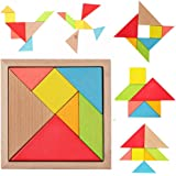 Newcreativetop 7 Piece Children Educational Toy Colorful Wooden Brain Training Geometry Tangram Puzzle