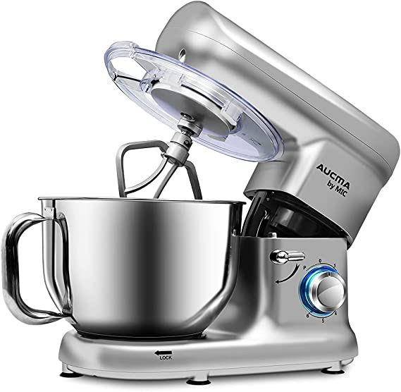 MIC Stand Mixer 5.5L Tilt-Head 6 Speeds Food Mixer 1500W Kitchen Electric Mixer with Stainless Steel Mixing Bowl Dough Hook Whisk Beater