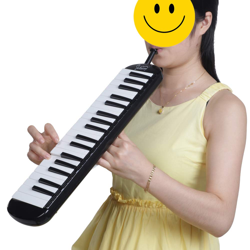 Glarry 37 Key Melodica Instrument Keyboard for Music Lovers with Mouthpiece with Hose Bag Black (37-key, Black) by Crownstar (Image #10)
