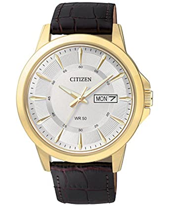 amazon com citizen bf2018 01a quartz mens day date strap watch citizen bf2018 01a quartz mens day date strap watch gold tone case
