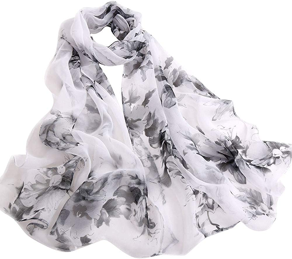 Peach Blossom Print Scarf,BaojunHT Says Captive of Love Unique Maid Shawls