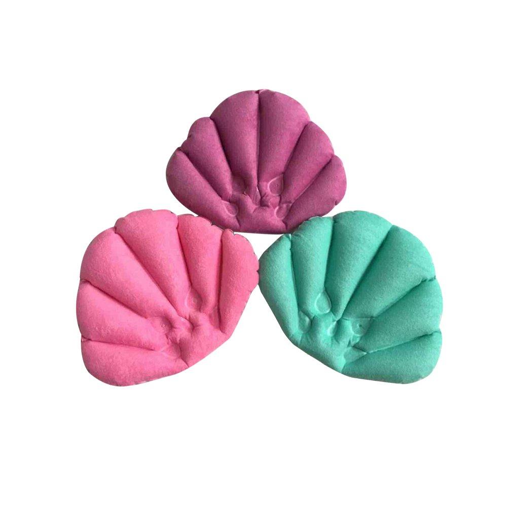 Rosenice Bath Cushion Inflatable Bath Treatment on site Soft Rear Neck Pillow with Suction Cups for Bath/Bathroom