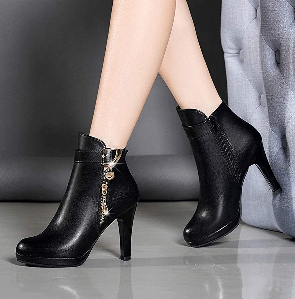 Photno Womens Leather Boots High Heel Fashion Zipper Design Military Buckle Motorcycle Cowboy Ankle Booties