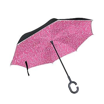 jstel doble capa diseño día de San Valentín corazones paraguas coches Reverse resistente al viento lluvia