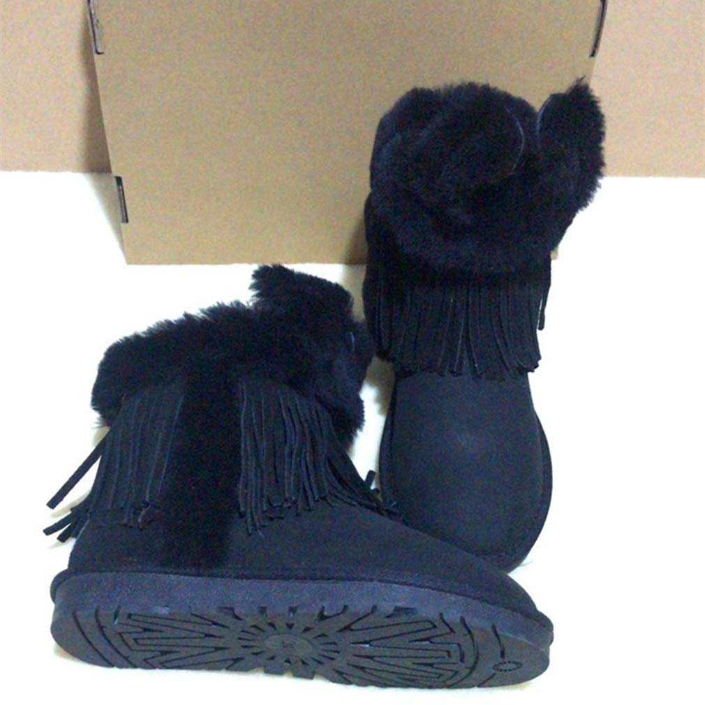 91d75b8168e4 Amazon.com  Hy Women s Boots New Winter Leather Plus Cashmere Warm Snow  Boots, Ladies Fashion Booties Student Casual Outdoor Skiing Shoes Winter  Boots ...